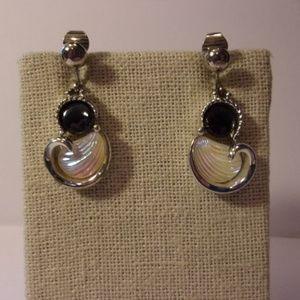 Vtg Emmons Silver Tone Dangle Clip Earrings